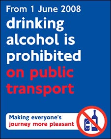 drinking banned on public transport