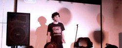Simon Amstell. Blurry and sweaty.