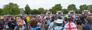The start of the London to Brighton bike ride on Clapham Common yesterday by estherase via the Londonist Flickrpool