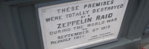 A plaque on Farringdon Road marks the site of one Zeppelin attack.
