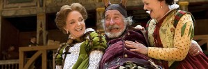 Serena Evans (Mistress Page), Christopher Benjamin (John Falstaff) and Sarah Woodward (Mistress Ford). Photo by John Tramper