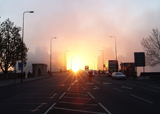 Mistry sunrise over Vauxhall Bridge