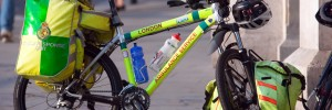 London ambulance Service bicycle, Trafalgar Square.