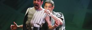 """He's behind you!"" Greg Hicks as Caesar with David Rubin as Trebonius"