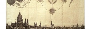An eclipse over London in 1748, showing a rare view of the City from Islington.