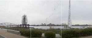 Thames Cable Car, running next to Gormley's Quantum Cloud.