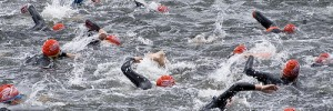 Triathletes swim in Royal Victoria Dock - image/Simon Kimber