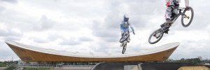 Riders try the course for the first time ahead of the London Prepares BMX competition