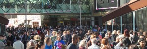 People streaming away from Westfield about 6pm, but not many of them with carrier bags.