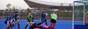 Great Britain women's hockey squad train on the newly-completed blue and pink pitch