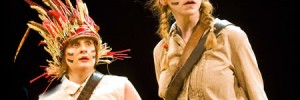 Swallows and Amazons. Original Bristol Old Vic production. Amy Booth-Steel (Peggy Blackett) and Celia Adams (Nancy Blackett) in Swallows and Amazons. Photo Simon Annand