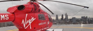 The London Air Ambulance overlooks the City.