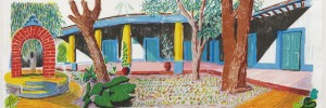 Hotel Acatlan: Second Day, 1984-85. Colour lithograph on two sheets of handmade paper. Paper and image 73.0 x 193.0cm. Edition of 98. Copyright: Courtesy of the Alan Cristea Gallery
