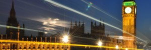 The Palace of Westminster at night with light trails