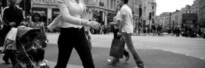 Striding out across Oxford Circus, by Pierre Mallien