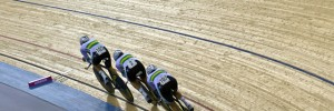 Three cyclists during the team pursuit