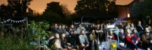 Around 200 people in Peckham's Centre for Wildlife Gardening for a screening at the 2011 Peckham and Nunhead Free Film Festival