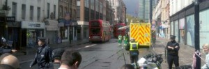 The cordon on Tottenham Court Road at 1.30pm