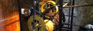 Clock mechanism in St Augustine&#039;s Tower, Hackney (events all week). Image by M@.
