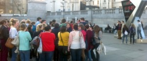 Tourists queuing to have their photo with an Olympic clock, months ago. Imagen what the real thing will be like!