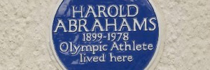 Blue plaque to Olympic athlete Harold Abrahams. Photo courtesy of English Heritage
