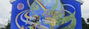 Commissioned by Tony Banks, this anti-nuclear mural on Coldblow Lane must be the only one to feature a missile-riding Michael Heseltine. It was created in 1983 by Brian Barnes and the London Muralists for Peace.