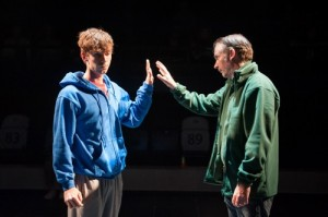 Luke Treadaway as Christopher Boone and Paul Ritter as Ed