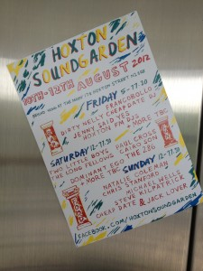 A flyer for Hoxton Soundgarden stuck on a lift door