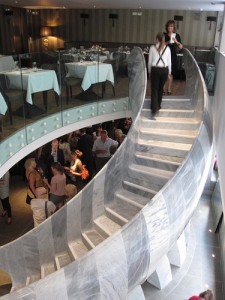 An impressive marble staircase by sculptor Mark Humphrey leads to the first-floor restaurant