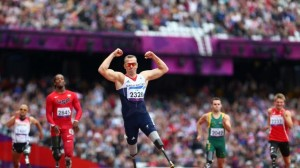 Richard Whitehead spanks his own world record to win the T42 200m. Image from London2012.