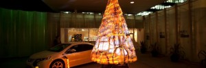 Gary Card's 'Electric Christmas' tree made of Vauxhall Ampera parts for the finale of the Vauxhall Ampera Season