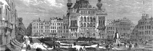 The Alhambra theatre, formerly the Royal Panopticon, dominating the eastern side of Leicester square just after the square's new garden had been opened in 1874.