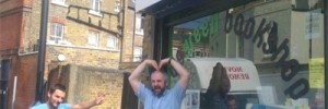 Simon and Tim at the Big Green Bookshop, feeling Olympic!