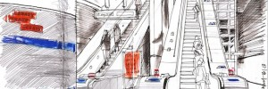 Lis Watkins sends us this sketch of Canary Wharf Tube station. More from Lis on her online sketchbook: www.lineandwash.blogspot.co.uk