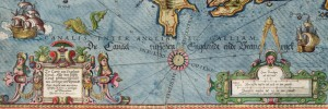 Detail of a Chart of the English Channel, created by Lucas Jansz Wagenaer, 1584.  National Maritime Museum. Details below.
