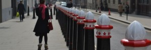 city-bollards-spring-sunshine