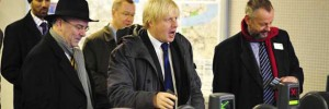 Mayor of London Boris Johnson at the official opening of the Woolwich Arsenal DLR station