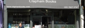 Outside Clapham Books (man with Sainsburys shopping cannot always be guaranteed)