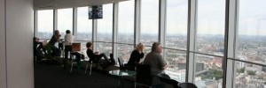 Gazing over London from the BT Tower. Photo / Frank Pickard